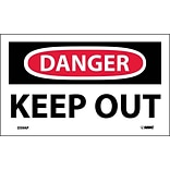 Danger Labels; Keep Out, 3X5, Adhesive Vinyl, 5/Pk