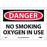 Danger Signs; No Smoking Oxygen In Use, 7X10, Rigid Plastic