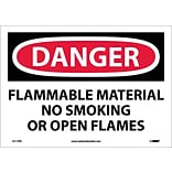 Danger Labels; Flammable Material No Smoking Or Open Flames, 10X14, Adhesive Vinyl
