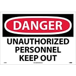 Danger Labels; Unauthorized Personnel Keep Out, 14X20, Adhesive Vinyl