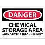 Danger Labels; Chemical Storage Area Authorized Personnel, 10X14, Adhesive Vinyl