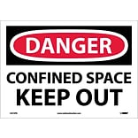 Danger Labels; Confined Space Keep Out, 10X14, Adhesive Vinyl