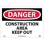 Danger Labels; Construction Area Keep Out, 10X14, Adhesive Vinyl