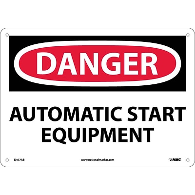 Danger Signs; Automatic Start Equipment, 10X14, .040 Aluminum