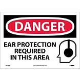 Danger Labels; Ear Protection Required In This Area, Graphic, 10X14, Adhesive Vinyl