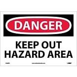 Danger Labels; Keep Out Hazard Area, 10X14, Adhesive Vinyl