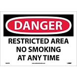 Danger Labels; Restricted Area No Smoking At Any Time, 10X14, Adhesive Vinyl