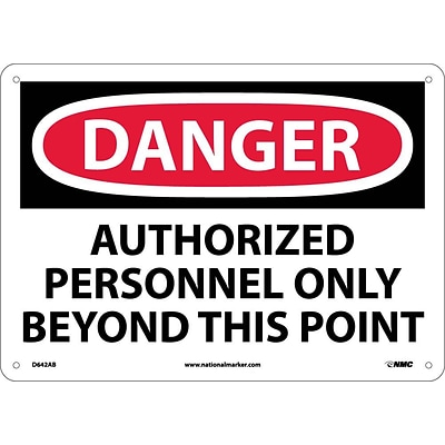 Danger Signs; Authorized Personnel Only Beyond This Point, 10X14, .040 Aluminum