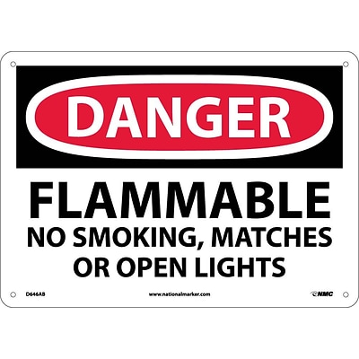 Danger Signs; Flammable No Smoking, Matches Or Open Lights, 10X14, .040 Aluminum