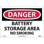 Danger Signs; Battery Storage Area No Smoking, 10X14, Rigid Plastic