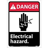 Danger Labels; Electrical Hazard (W/Graphic), 14X10, Adhesive Vinyl