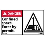 Danger Labels; Confined Space Enter By Permit (Graphic), 3X5, Adhesive Vinyl, 5/Pk