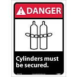 Danger Labels; Cylinders Must Be Secured, 14X10, Adhesive Vinyl