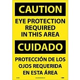 Caution Labels; Eye Protection Required In This Area (Bilingual), 20X14, Adhesive Vinyl
