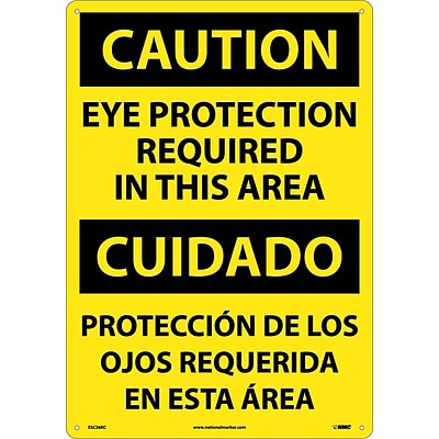 Caution Signs; Eye Protection Required In This Area (Bilingual), 20X14, Rigid Plastic