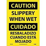Caution Labels; Slippery When Wet (Bilingual), 14X10, Adhesive Vinyl