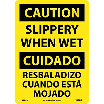 Caution Signs; Slippery When Wet (Bilingual), 14X10, Rigid Plastic