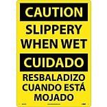 Caution Signs; Slippery When Wet (Bilingual), 20X14, Rigid Plastic
