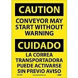 Caution Labels; Conveyor May Start Without Warning Bilingual, 14X10, Adhesive Vinyl