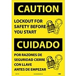 Caution Labels; Lockout For Safety Before You Start (Bilingual), 20X14, Adhesive Vinyl
