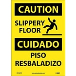 Caution Labels; Slippery Floor Bilingual, Graphic, 14X10, Adhesive Vinyl