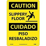 Caution Signs; Slippery Floor Bilingual, Graphic, 14X10, Rigid Plastic
