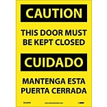 Caution Labels; This Door Must Be Kept Closed (Bilingual), 14X10, Adhesive Vinyl