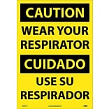 Caution Labels; Wear Your Respirator (Bilingual), 20X14, Adhesive Vinyl