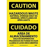 Caution, Hazardous Waste Material Storage Only No Smoking, Open Flames Or Open Lights (ESC706PB)