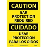 Caution Labels; Ear Protection Required, Bilingual, 14X10, Adhesive Vinyl
