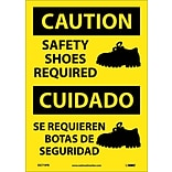Caution Labels; Safety Shoes Required (Graphic), Bilingual, 14X10, Adhesive Vinyl