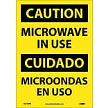 Caution Labels; Microwave In Use, Bilingual, 14X10, Adhesive Vinyl