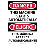 Danger Labels; This Machine Starts Automatically (Bilingual), 20X14, Adhesive Vinyl