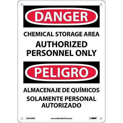 Danger Signs; Chemical Storage Area Authorized Personnel Only (Bilingual), 14X10, Rigid Plastic