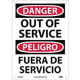Danger Signs; Out Of Service Bilingual, 14X10, Rigid Plastic