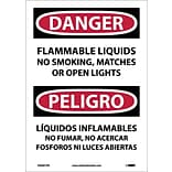 Danger Labels; Flammable Liquids No Smoking, Matches Or Open Lights, Biling., 14X10, Adhesive Vinyl