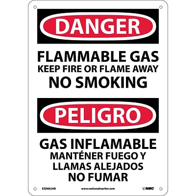 Flammable Gas Keep Fire Or Flame Away No Smoking, Bilingual, 14 X10, .040 Aluminum, Danger Sign
