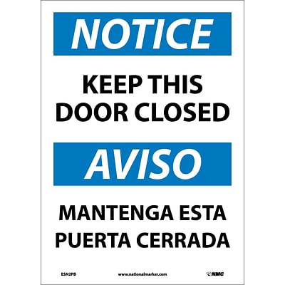 Notice Labels; Keep This Door Closed Bilingual, 14X10, Adhesive Vinyl