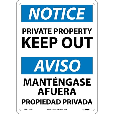 Private Property Keep Out, Bilingual, 14X10, .040 Aluminum, Notice Sign
