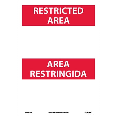 Information Labels; Restricted Area, Area Restringida Blank, Bilingual, 14X10, Adhesive Vinyl