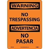Warning Sign; No Trespassing Bilingual, 14X10, Rigid Plastic
