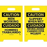 Floor Signs; Dbl Side, Caution Men Working Caution Slippery When Wet (Bilingual), 20X12