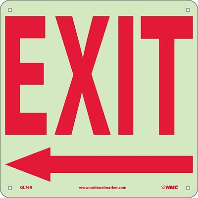 Directional Signs; Exit (With Left Arrow), 10X10, Glow Rigid