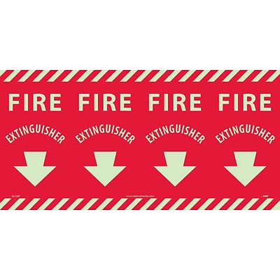 Information Labels; Fire Extinguisher Column Marker, 12X24, Adhesive Vinylglow