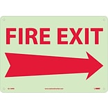 Notice Signs; Fire, Fire Exit, Right Arrow, 10X14, Rigid Plasticglow