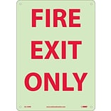 Notice Signs; Fire, Fire Exit Only, 14X10, Rigid Plasticglow