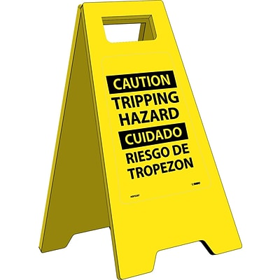 Heavy Duty Floor Signs; Caution Tripping Hazard (Bilingual), 24.63X10.75