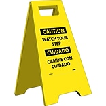 Heavy Duty Floor Signs; Caution Watch Your Step (Bilingual), 24.63X10.75