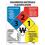 Hazardous Materials Classification Label; 11X8, Adhesive Vinyl