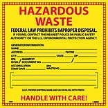 Hazard Labels; Hazardous Waste, 6X6, Adhesive Vinyl, 25/Pk